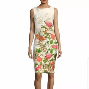 Gabby Skye Floral Print Sleeveless Midi Dress